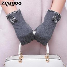 snowflake screen 2019 - Zeagoo Fashion Girls Winter Mitten For Women Snowflake Warm Touch Screen Wrist Luvas Outdoor Gloves Hot Bowknot 4 Colors