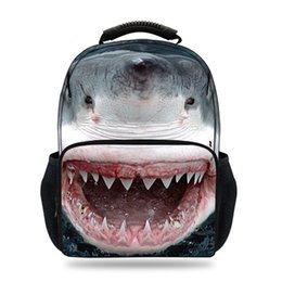 kids backpacks sales Canada - 15inch Hot Sale Animal Print Bag For Pupil School Bags For Children Boys Girls Shark Felt Backpack For Kids Teenagers