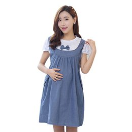 2f737589ce6 Maternity Clothes 2018 New Summer Bow Patchwork Loose Casual Dress Maternity  Cloth Tops Pregnancy Clothes for Pregnant Women