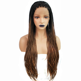 Chinese  Hot Sexy Box Braided Wigs with Baby Hair Dark Roots Ombre Brown Hand Tied Heat Resistant Synthetic Braided Lace Front Wigs for Women manufacturers