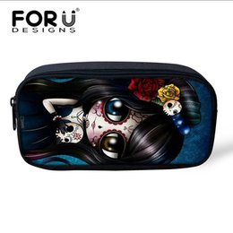 $enCountryForm.capitalKeyWord NZ - FORUDESIGNS Skull Print Pencil Case for Girls, Women Cosmetic Makeup Bag Zipper Make Up Pouch Purse Portable Kids Pencil Bags