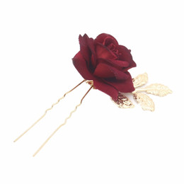 rose hair comb UK - Red Rose Flower Bridal Hair Comb Pins Handmade Wedding Accessories Jewelry Women Prom Headpiece