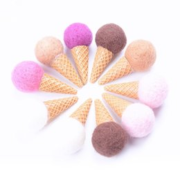 wedding ice cream NZ - 30pcs Ice Cream Cone Flower Bouquet Decoration Christmas Wedding Handmade Material Supplies Mixed Color 6*3 cm free shipping