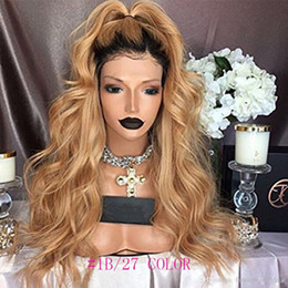 Discount long bleached blonde hair - Brazilian Ombre Body Wavy Glueless Full Lace Human Hair Wigs 1B 27 Honey Blonde Two Tone Lace Front Wigs 130 Density Ble
