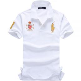 6e2770361c0deb Top-qualität Marke Kleidung Männlichen Mode Große Pferd Stickerei Casual  männer Polo Shirts Solide Casual 100% Baumwolle Polo T-shirt Tops Slim Fit