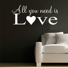 Word Wall Sticker Family Australia - All You Need Is Love Wall Art Quote Words Couple Family Decor Bedroom Room Decoration Accessories