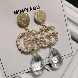 05679e5304ce moda coreana pendientes largos de perlas para las mujeres grandes borla  cuelga gota perla pendiente de joyería