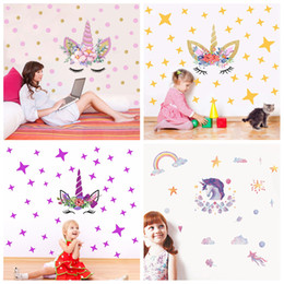 Vinyl for wall art online shopping - 4styles Diy Unicorn Cartoon Rainbow Wall Sticker Stars rainbow Kids Bedroom Decals Poster Wallpaper Art Stickers FFA663