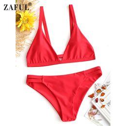 afd70aca17c99 wholesale Bikinis Set Cami Ladder Cut Ruched Bathing Suit Sexy Thong Bikinis  Set Women Female Summer Brazilian Swimwear S-2XL