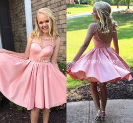 little girl dresses for homecoming 2019 - Blush Girls Homecoming Dresses 2019 Scoop Backless Short Beaded Prom Party Gowns For Sweet 15 Cocktail Dress Vestidos De