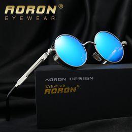 aoron polarized sunglasses 2019 - AORON Gothic Steampunk Round Sun Glasses Men & Women Polarized Sunglasses John Lennon Granny Sunglasses Vintage Sol Eyew