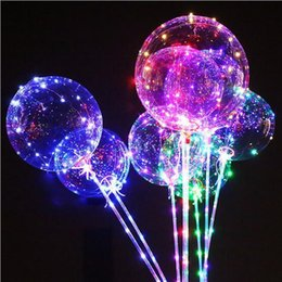 $enCountryForm.capitalKeyWord Australia - LED Light Up Balloons Multicolored 20 PCS for Kids 18 Inch Transparent Bobo Balloon with Flashing Lights Colorful Glowing Party Wedding