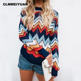 Wholesale rainbow knit sweater resale online – Autumn Rainbow Striped Sweater Women O Neck Hollow Out Knitted Sweaters Tops Female Warm Jumpers Pullovers Chic Pull Femme