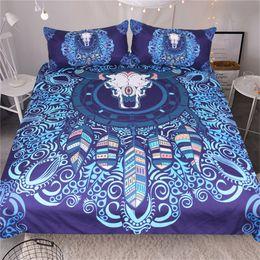 galaxy bedding full size 2019 - Bull Head Skull Bedding Set Watercolor Galaxy Duvet Cover Set Dreamcatcher Bedclothes Boho Blue Home Textiles Twin Full