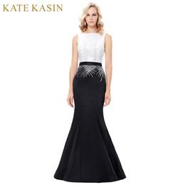 ac618a6e07b Kate Kasin Long Sequins Mermaid Evening Dresses Party Elegant Vestido De  Festa Prom Dresses 2018 Robe de Soiree Black White Gown C18111601