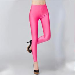 Plus Size Brown Leggings NZ - 21 Colors Plus Size Fluorescent Color Women Leggings Elastic Leggings Spandex Multicolor Shiny Glossy Leggins Trousers For Girl