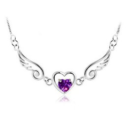 Rhinestone Circle Chain Australia - 925 Sterling Silver Angel Wings Love Heart Necklaces & Pendants Rhinestones Silver Chain Necklace Women Fine Jewelry