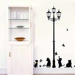 Kids birthday sticKers online shopping - Children Room Background Wall Stickers Black Kitty Street Lamp Kids Birthday Gift Wallpaper Home Decor Sticker Decoration Art hs Ww