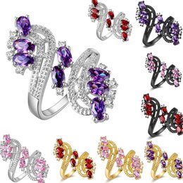 Wholesaler Red Plates Australia - 925 Sterling Silver Plated Women Ring With Purple  Red Pink Crystal Overlay Ring For Women Wedding Size 6   7   8   9 Rings Women
