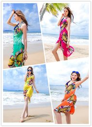554814d7019 2018 Summer Casual Boho Beach Dress Hot Sale Fashion Multi Color Floral  Printed Women Long Dress sleeve Loose Maxi Dress Wholesale