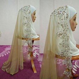 $enCountryForm.capitalKeyWord NZ - White Ivory Muslim Bridal Veils Applique Sequins Pearls Shoulder Length Wedding Veil Velo Accessories Mantilla With Comb Free Shipping