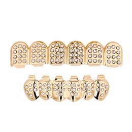 $enCountryForm.capitalKeyWord NZ - maxi Fashion Trendy Geometri Dental Grills Black Ethnic hipop Gold Color Crystal Punk Grillz Dental Grills Man Women Body Jewelry whosale
