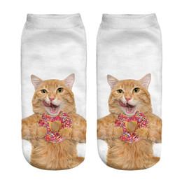 5c2cd8b3669b 1pair 3D Yellow Cat Printed Short socks Women Men Low Cut Ankle Fashion  Cotton Casual Character Sock Brand New