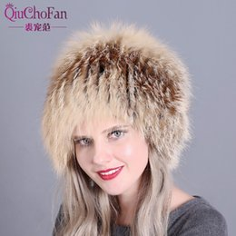 6e4ce44142b Women winter fur hats genuine fox fur knitted beanies 2018 new hot Russian  style super elastic high quality luxury female caps