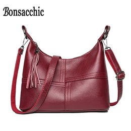 luxury bags stones 2019 - Bonsacchic Red Leather Bags Women's Small Handbags Luxury Handbags Women Bags Designer Ladies Hand Bags for Women 2