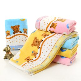 Bored Hair UK - cute kids hand hair face towel soft bear print children washcloth cartoon bathroom towels cotton microfiber cloth