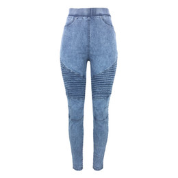Gray Denim Leggings UK - Women Skinny Jeans Autumn Winter Denim Jeggings High Waist Elastic Jeans Leggings Washed Ruched Skinny Pencil Trousers Tights