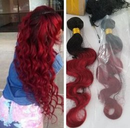 Discount wholesale burgundy peruvian hair - 9A Ombre Brazilian Hair 3Bundles Burgundy Wet and Wave Bundles Body Wave 1B Burgundy Brazilian Virgin Hair Ombre Human H