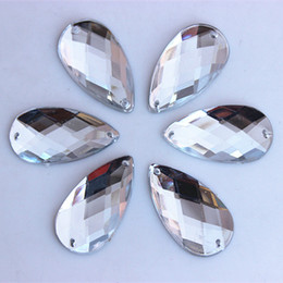 50pcs 16*30mm Acrylic Crystal Flatback Beads Rhinestones Big Drop Accessories Sew on For Dress stones 2 Hole ZZ424 on Sale