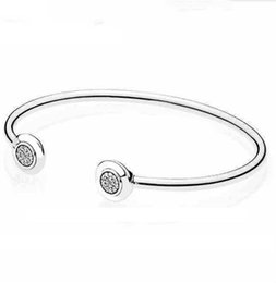 Discount pan charms - 925 Sterling Silver Pan Bangle Signature With Crystal Open Bracelet Bangle Fit Women Bead Charm Diy Europe Jewelry