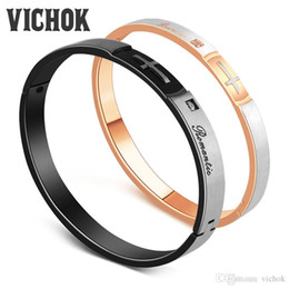 """White Rose For Lover Canada - 316L Stainless Steel Couple Bangle Bracelet Cross Bangles With """"Romantic"""" Letters For Women Men Lover Party Rose Gold Black Color VICHOK"""
