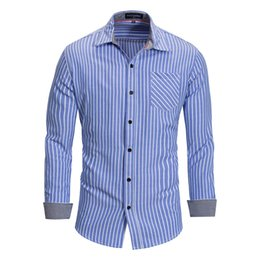 946ce5c0f07 Big tall clothing online shopping - Mens Designer Clothing Color Matching  Design Striped Shirt Pocket Decoration