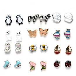 35279b417 20 Pairs Cute Animals Hypoallergenic Stud Earrings Set Butterfly Rabbit  Flower Piercing Earrings for Girls Kids Jewelry Gifts Free DHL H314R