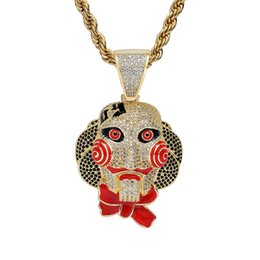 China Men's Hiphop Mask Doll Pendant Necklace Paved Micro Cubic Zirconia Stone Enamel Necklaces Halloween Cosplay Jewelry cheap doll mask cosplay suppliers