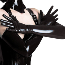 Wholesale cosplay costumes fetish for sale – halloween Black Adult Sexy Long Latex Gloves Clubwear Sexy Catsuit Ladies Hip Fetish Faux Leather Gloves Cosplay Costumes Accessory