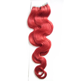"Discount tape hair extensions body wave - 18"" 20"" 22"" 24"" Tape In Remy Human Hair Extensions 40pcs Red Body Wave Skin Weft Hair On Adhesive Se"
