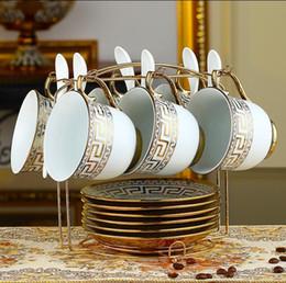 venda por atacado Luxo Drinkware 19 pcs Jogo de Chá De Cerâmica Europeia Conjunto de café de Porcelana Cafeteira Café Jarra Copo conjunto De Pires