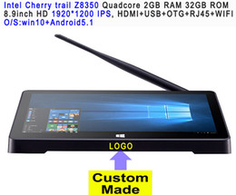Discount iptv pc dual 1pcs Custom Made 8.9inch HD screen Touch panel Dual Boot Android5.1Windows10 Intel Z8350 2GB 32GB IPTV streaming TV Box