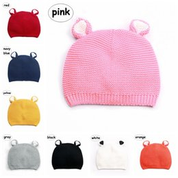 kids bear hat NZ - 8colors Baby knitted Hats Toddler Boys Girls solid color Beanies Kids Autumn Winter Cute bear design Caps