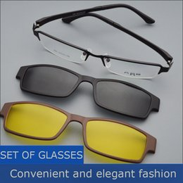 vision alloy 2019 - Box Eyeglasses Frame Belt Magnet Clip Myopia Glasses Polarized Sunglasses Male Sunglasses Black Frame Night Vision Goggl