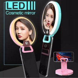 Round level online shopping - RK16 Multi function LED mirrors Levels Warm and White Light Cosmetic Mirror Fill Light with LED pink purple green black