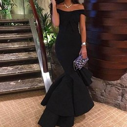 Off shOulder asymmetrical evening dress online shopping - Robe De Soiree Black Off the Shoulder Evening Dresses Hi Lo Mermaid Prom DressesTiered Backless Evening Reception Gowns