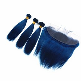 $enCountryForm.capitalKeyWord UK - New Product Silky Straight blue color Hair Weaves With Lace Closure 13x4 Dark Blue Hair 3Bundles With Ear To Ear Frontal