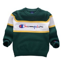 Wholesale Korean style Autumn Winter Boys Girls Sweaters Champion Baby stripe Pullover Knit Kids Clothes Embroidery letters Student Clothing