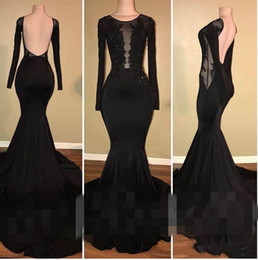 2018 Charming Black Jewel Prom Dresses Applique Long Sleeve Elastic Satin Sweep Train Mermaid Formal Evening Dresses Prom Gowns