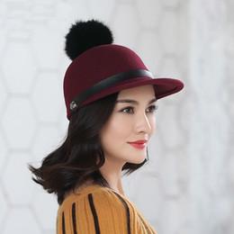3f8cd79ef2ceb6 Beckyruiwu Woman Autumn And Winter Rabbit Fur Pompom Woolen Hat Lady Party  Fashion 100% Wool Felt Equestrian Cap